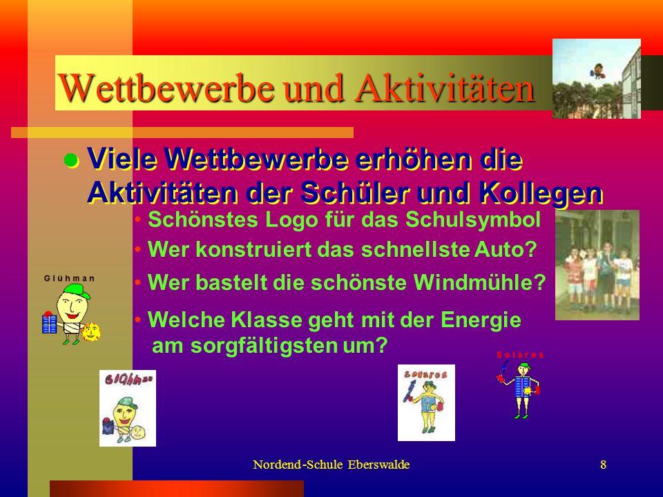 Nordend -Schule Eberswalde8 Wettbewerbe und Aktivitäten Viele Wettbewerbe erhöhen die Aktivitäten der Schüler und Kollegen Schönstes Logo für das Schulsymbol Welche Klasse geht mit der Energie am sorgfältigsten um.