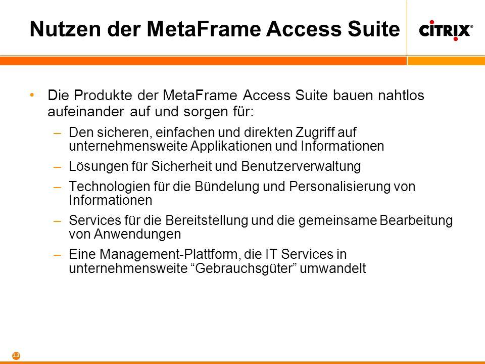 13 Nutzen der MetaFrame Access Suite Die Produkte der MetaFrame Access Suite bauen nahtlos aufeinander auf und sorgen für: –Den sicheren, einfachen un