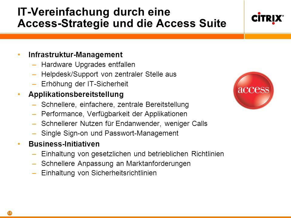 15 IT-Vereinfachung durch eine Access-Strategie und die Access Suite Infrastruktur-Management –Hardware Upgrades entfallen –Helpdesk/Support von zentr