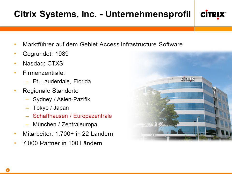 2 Citrix Systems, Inc. - Unternehmensprofil Marktführer auf dem Gebiet Access Infrastructure Software Gegründet: 1989 Nasdaq: CTXS Firmenzentrale: –Ft