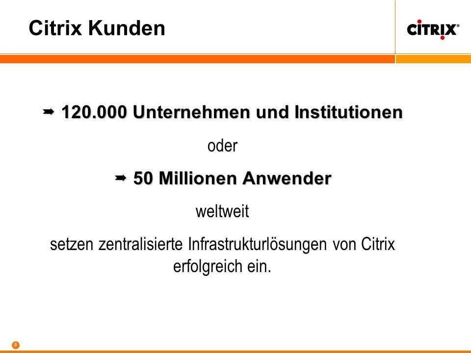 3 Citrix Kunden 120.000 Unternehmen und Institutionen 120.000 Unternehmen und Institutionen oder 50 Millionen Anwender 50 Millionen Anwender weltweit