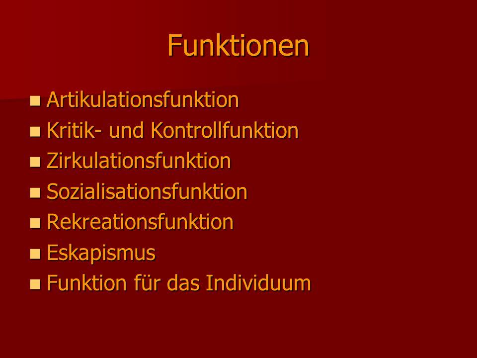Funktionen Artikulationsfunktion Artikulationsfunktion Kritik- und Kontrollfunktion Kritik- und Kontrollfunktion Zirkulationsfunktion Zirkulationsfunk