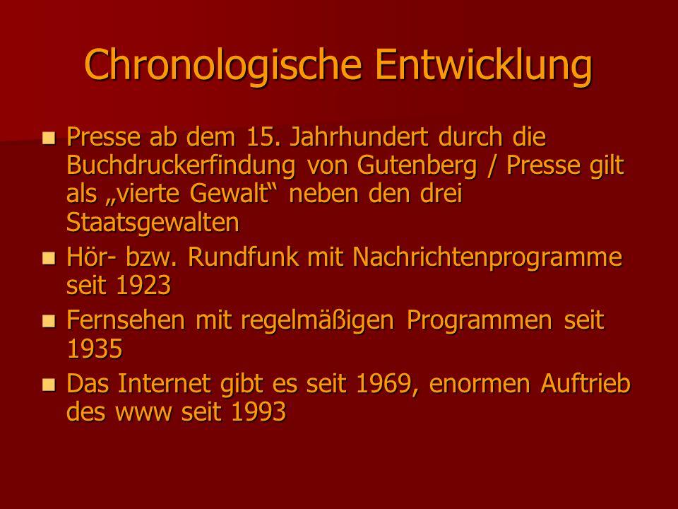 Chronologische Entwicklung Presse ab dem 15. Jahrhundert durch die Buchdruckerfindung von Gutenberg / Presse gilt als vierte Gewalt neben den drei Sta