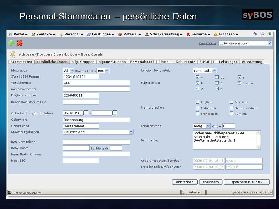 Personal-Stammdaten – persönliche Daten