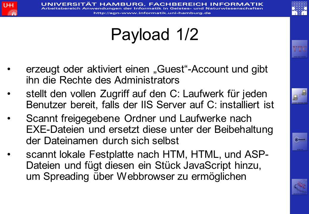 Payload 1/2 erzeugt oder aktiviert einen Guest-Account und gibt ihn die Rechte des Administrators stellt den vollen Zugriff auf den C: Laufwerk für je