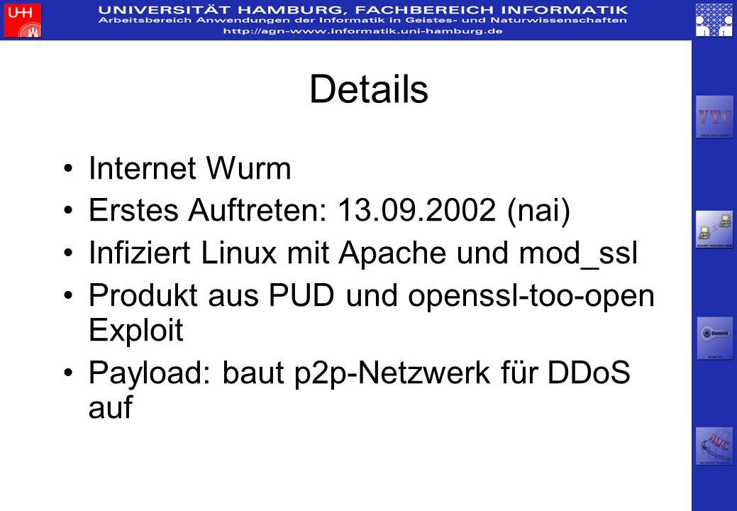 Details Internet Wurm Erstes Auftreten: 13.09.2002 (nai) Infiziert Linux mit Apache und mod_ssl Produkt aus PUD und openssl-too-open Exploit Payload: