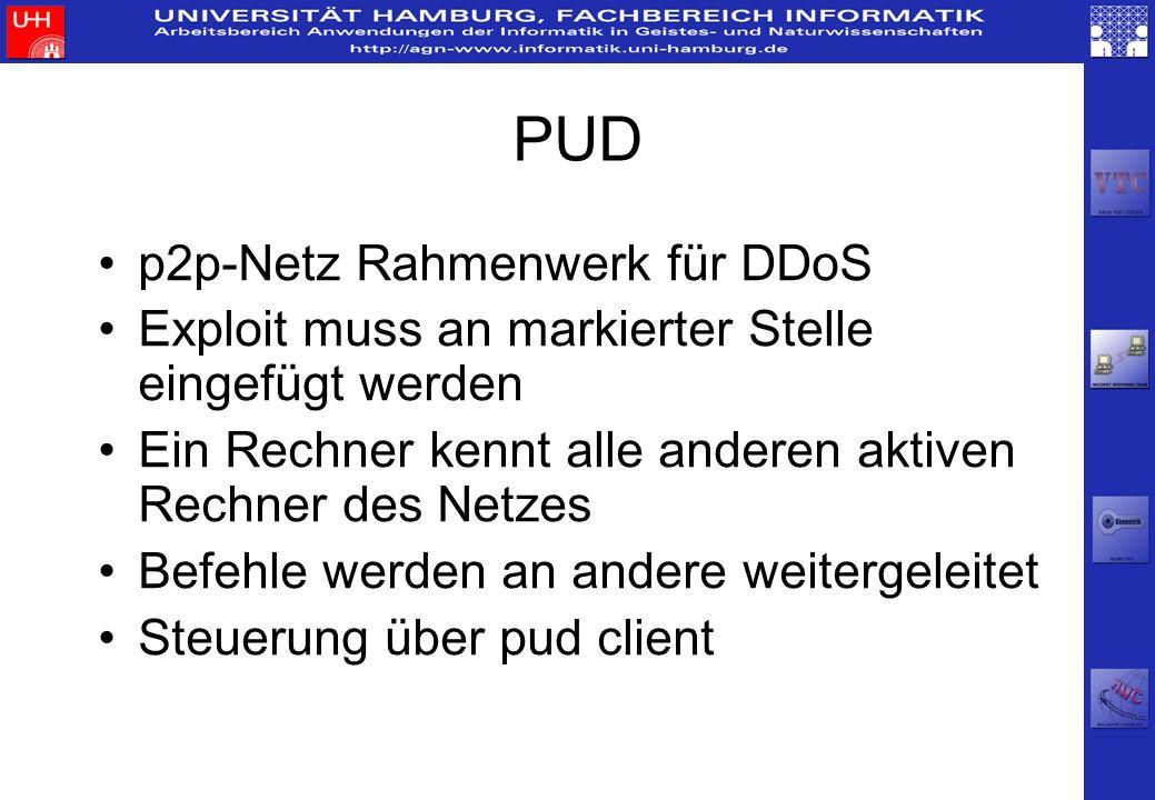 PUD p2p-Netz Rahmenwerk für DDoS Exploit muss an markierter Stelle eingefügt werden Ein Rechner kennt alle anderen aktiven Rechner des Netzes Befehle