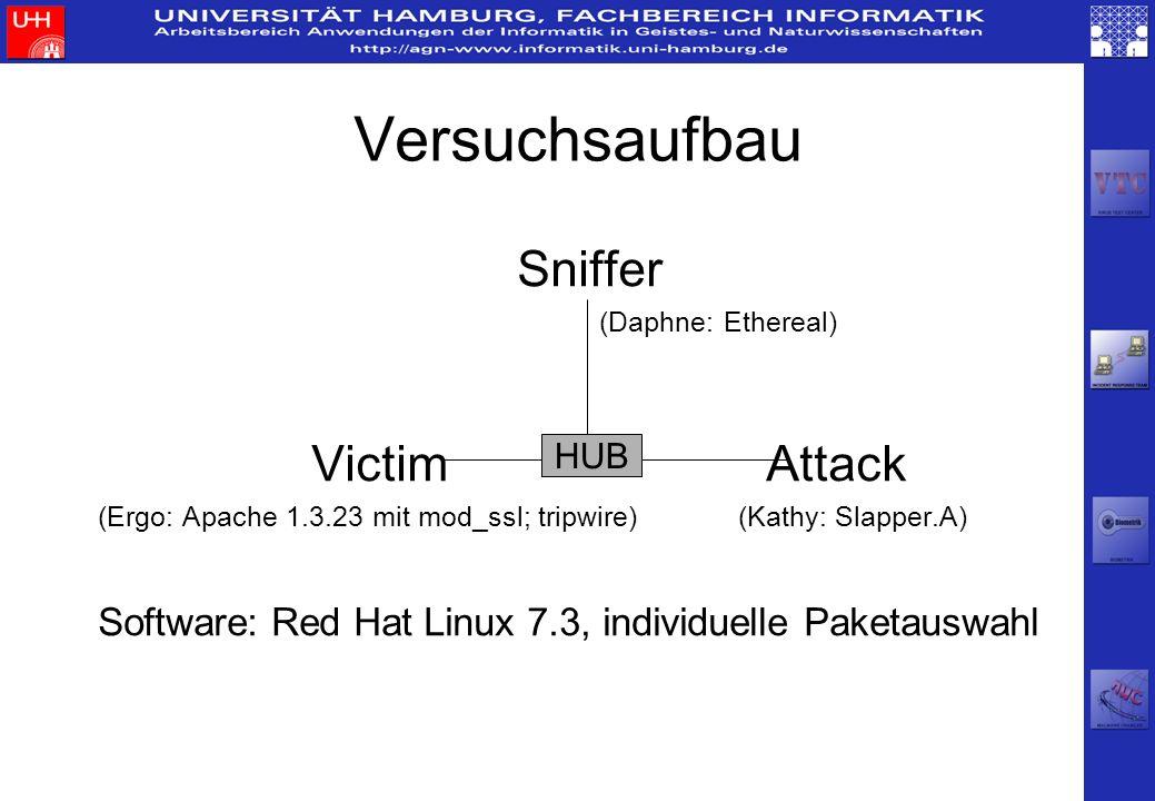 Versuchsaufbau Sniffer (Daphne: Ethereal) Victim Attack (Ergo: Apache 1.3.23 mit mod_ssl; tripwire)(Kathy: Slapper.A) Software: Red Hat Linux 7.3, ind