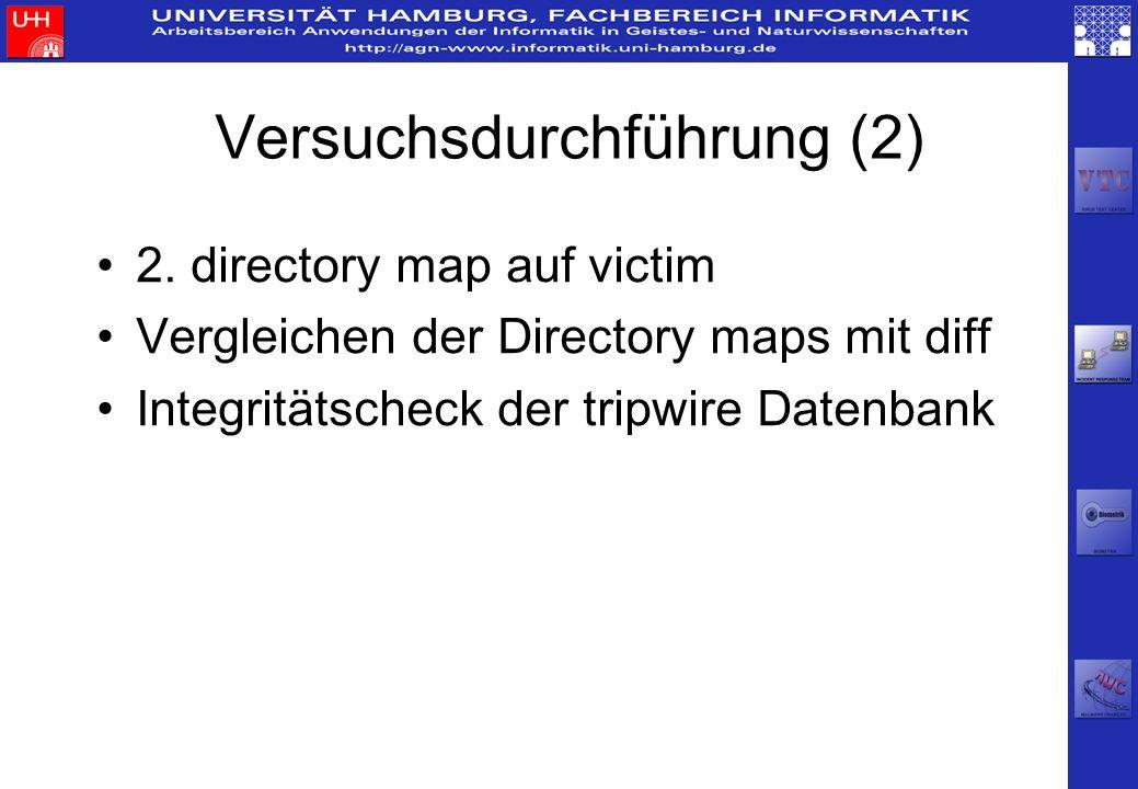 Versuchsdurchführung (2) 2. directory map auf victim Vergleichen der Directory maps mit diff Integritätscheck der tripwire Datenbank