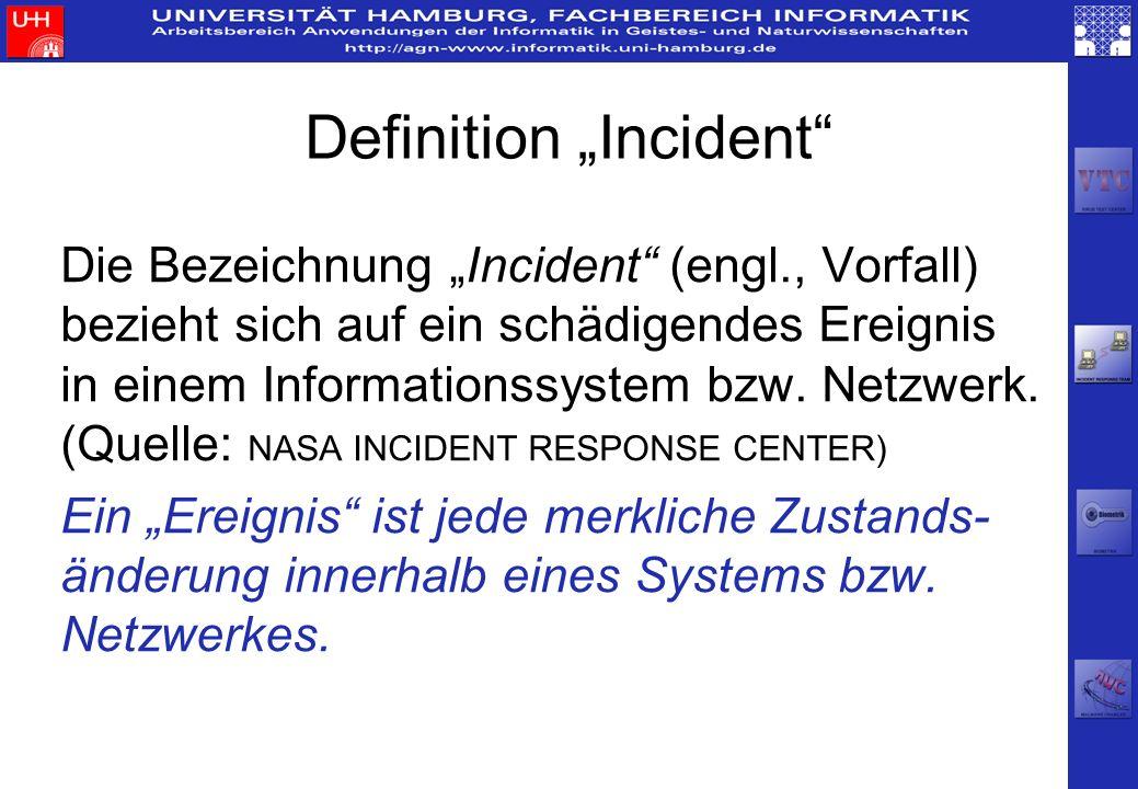 Definition Incident Die Bezeichnung Incident (engl., Vorfall) bezieht sich auf ein schädigendes Ereignis in einem Informationssystem bzw. Netzwerk. (Q