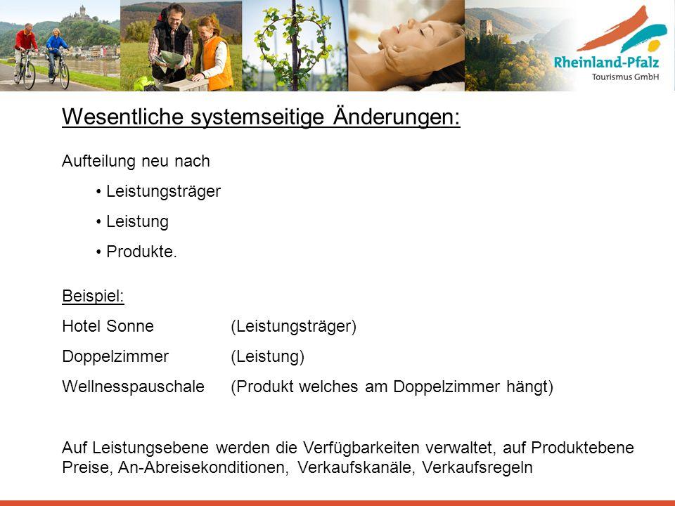 Wesentliche systemseitige Änderungen: Aufteilung neu nach Leistungsträger Leistung Produkte. Beispiel: Hotel Sonne (Leistungsträger) Doppelzimmer (Lei