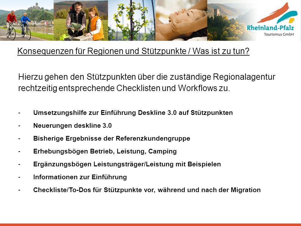 Konsequenzen für Regionen und Stützpunkte / Was ist zu tun? Hierzu gehen den Stützpunkten über die zuständige Regionalagentur rechtzeitig entsprechend