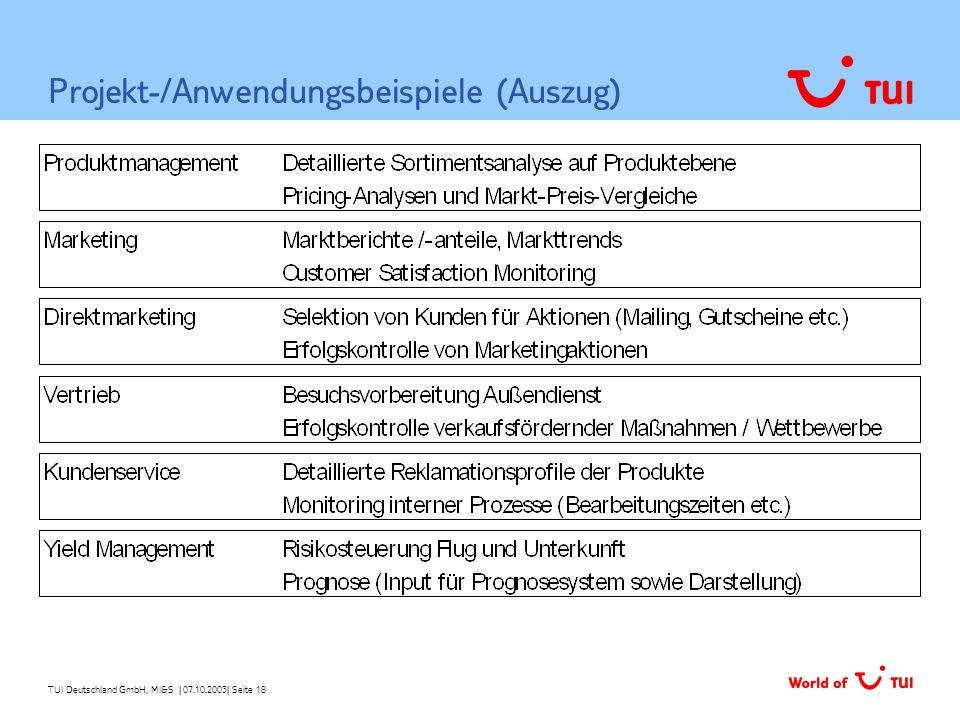 TUI Deutschland GmbH, MI&S   07.10.2003  Seite 18 Projekt-/Anwendungsbeispiele (Auszug)