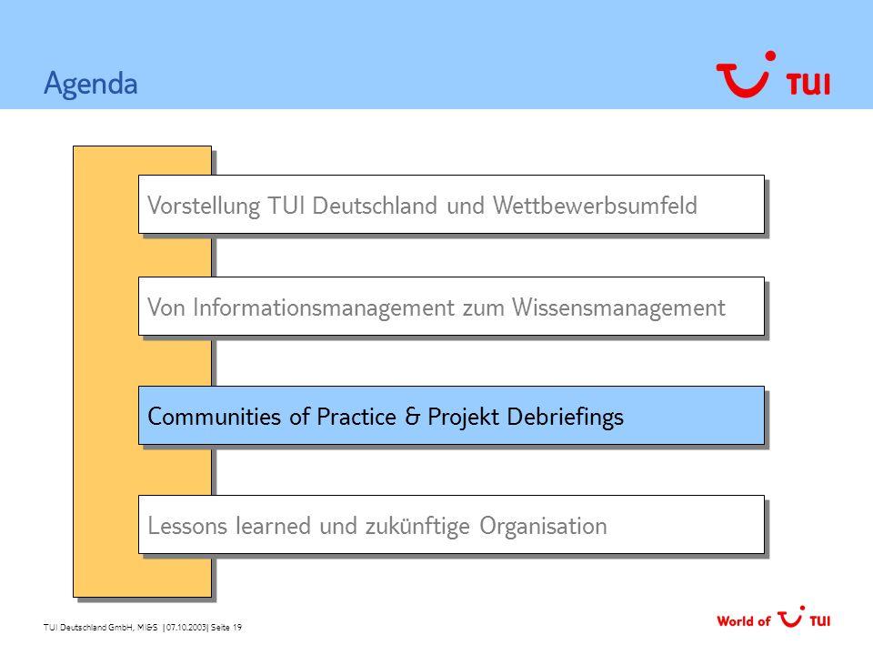 TUI Deutschland GmbH, MI&S   07.10.2003  Seite 19 Vorstellung TUI Deutschland und Wettbewerbsumfeld Von Informationsmanagement zum Wissensmanagement A