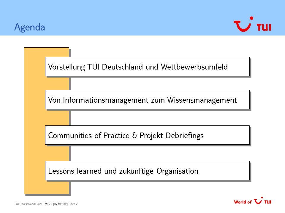 TUI Deutschland GmbH, MI&S   07.10.2003  Seite 2 Vorstellung TUI Deutschland und Wettbewerbsumfeld Von Informationsmanagement zum Wissensmanagement Ag