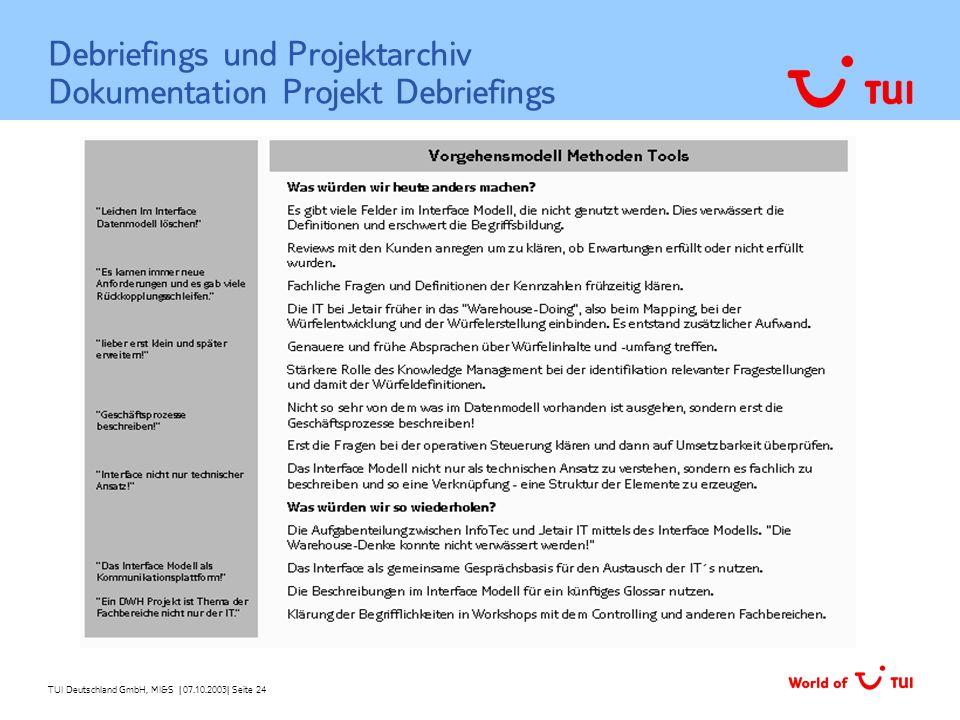 TUI Deutschland GmbH, MI&S   07.10.2003  Seite 24 Debriefings und Projektarchiv Dokumentation Projekt Debriefings