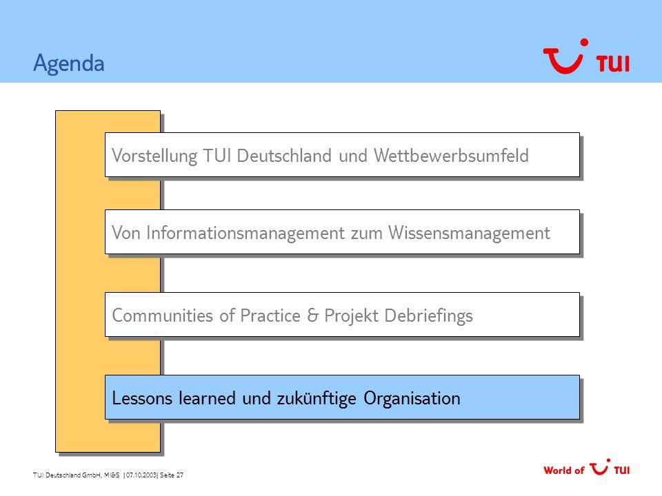 TUI Deutschland GmbH, MI&S   07.10.2003  Seite 27 Vorstellung TUI Deutschland und Wettbewerbsumfeld Von Informationsmanagement zum Wissensmanagement A