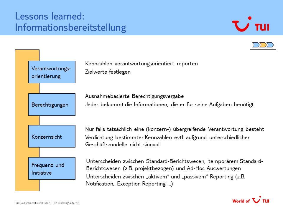 TUI Deutschland GmbH, MI&S   07.10.2003  Seite 29 Lessons learned: Informationsbereitstellung Verantwortungs- orientierung Berechtigungen Konzernsicht