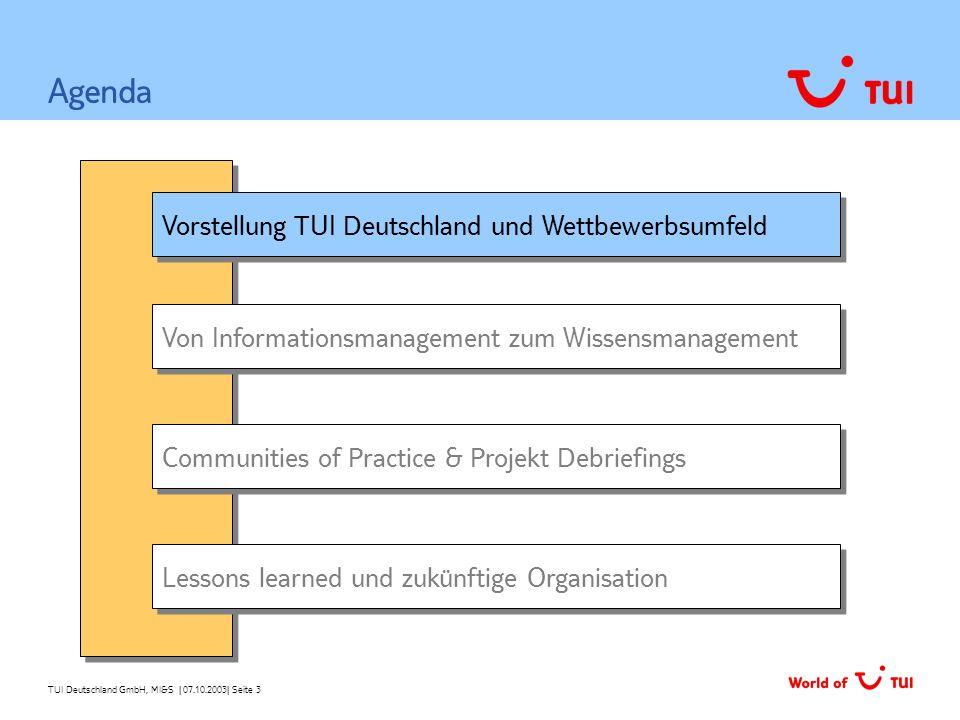 TUI Deutschland GmbH, MI&S   07.10.2003  Seite 3 Vorstellung TUI Deutschland und Wettbewerbsumfeld Von Informationsmanagement zum Wissensmanagement Ag