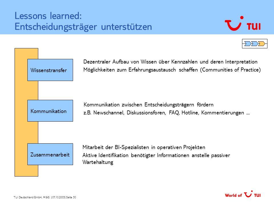 TUI Deutschland GmbH, MI&S   07.10.2003  Seite 30 Lessons learned: Entscheidungsträger unterstützen Wissenstransfer Kommunikation Zusammenarbeit Dezen