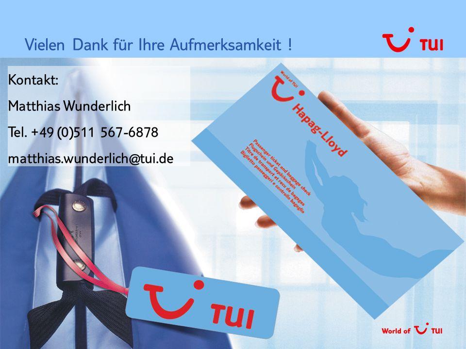 TUI Deutschland GmbH, MI&S   07.10.2003  Seite 33 Vielen Dank für Ihre Aufmerksamkeit ! Kontakt: Matthias Wunderlich Tel. +49 (0)511 567-6878 matthias