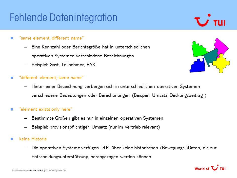 TUI Deutschland GmbH, MI&S   07.10.2003  Seite 36 Fehlende Datenintegration same element, different name – Eine Kennzahl oder Berichtsgröße hat in unt