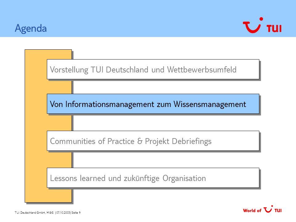 TUI Deutschland GmbH, MI&S   07.10.2003  Seite 9 Vorstellung TUI Deutschland und Wettbewerbsumfeld Von Informationsmanagement zum Wissensmanagement Ag