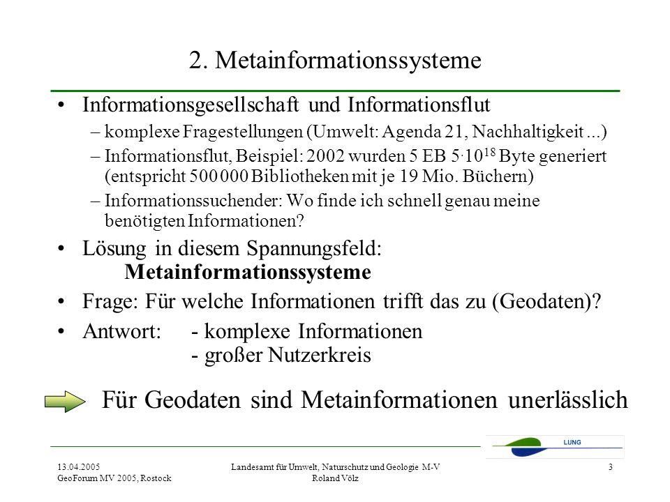 13.04.2005 GeoForum MV 2005, Rostock Landesamt für Umwelt, Naturschutz und Geologie M-V Roland Völz 3 2.