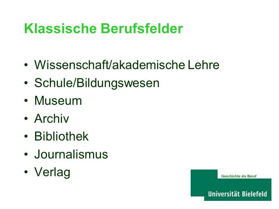 Klassische Berufsfelder Wissenschaft/akademische Lehre Schule/Bildungswesen Museum Archiv Bibliothek Journalismus Verlag Geschichte als Beruf