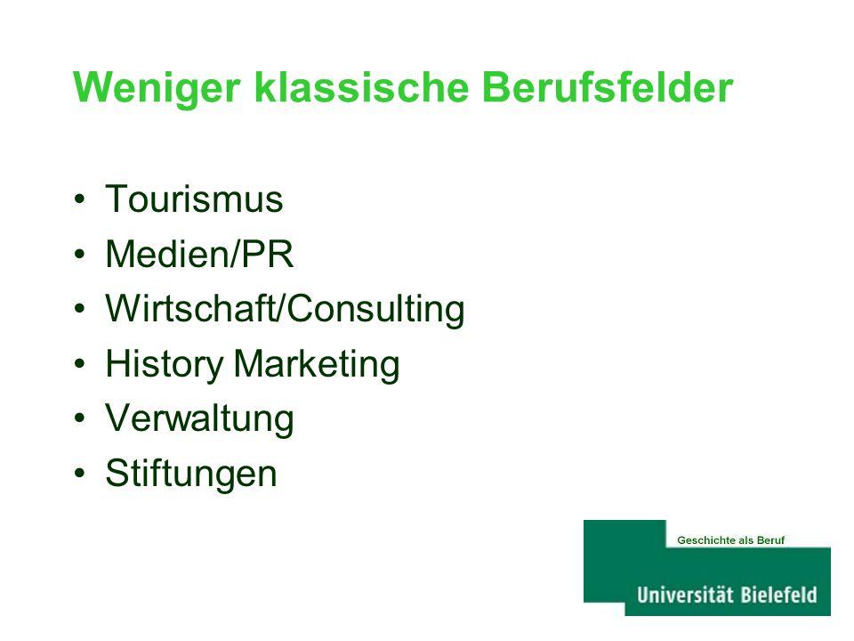Weniger klassische Berufsfelder Tourismus Medien/PR Wirtschaft/Consulting History Marketing Verwaltung Stiftungen Geschichte als Beruf