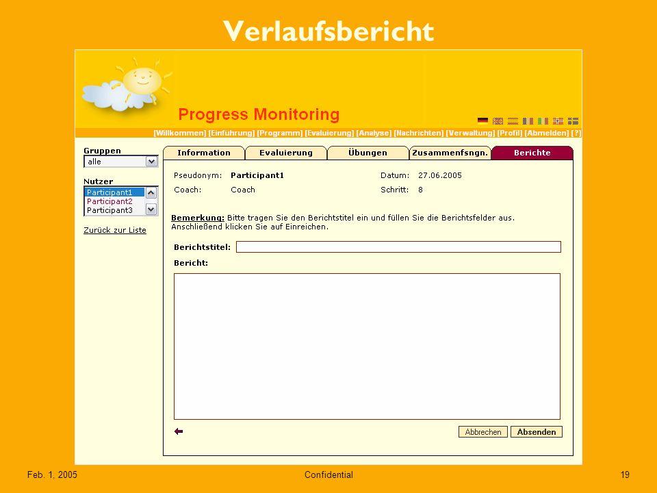 Confidential19Feb. 1, 2005 Verlaufsbericht