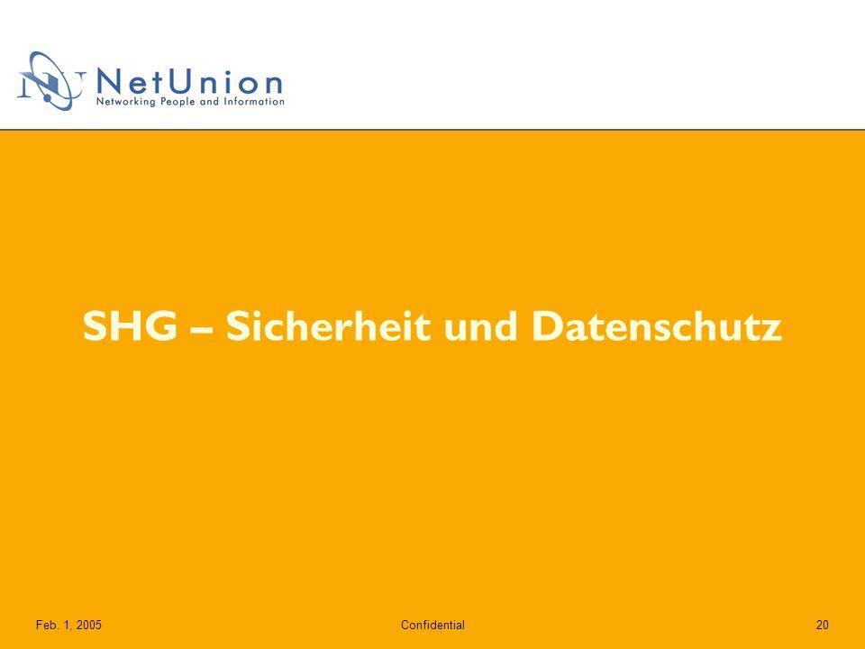 ConfidentialFeb. 1, 200520 SHG – Sicherheit und Datenschutz