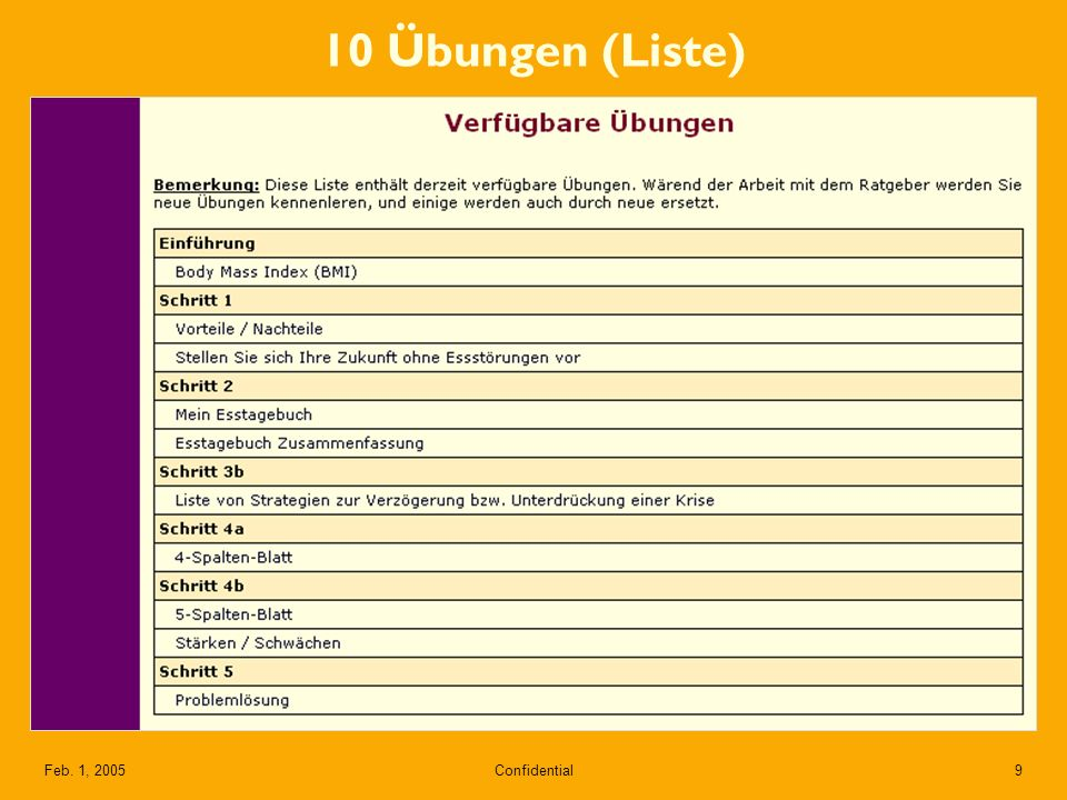 Confidential9Feb. 1, 2005 10 Übungen (Liste)