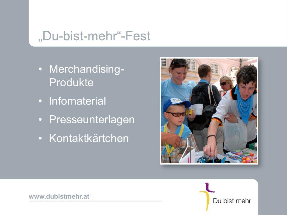 Du-bist-mehr-Fest Merchandising- Produkte Infomaterial Presseunterlagen Kontaktkärtchen