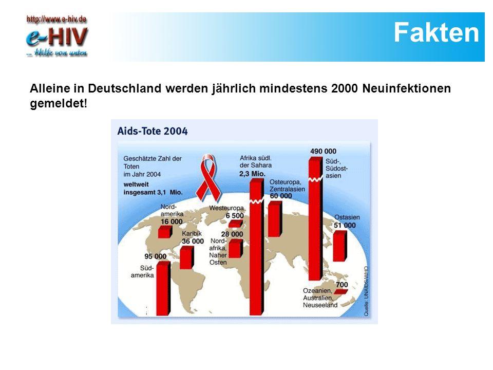 Fakten Alleine in Deutschland werden jährlich mindestens 2000 Neuinfektionen gemeldet!