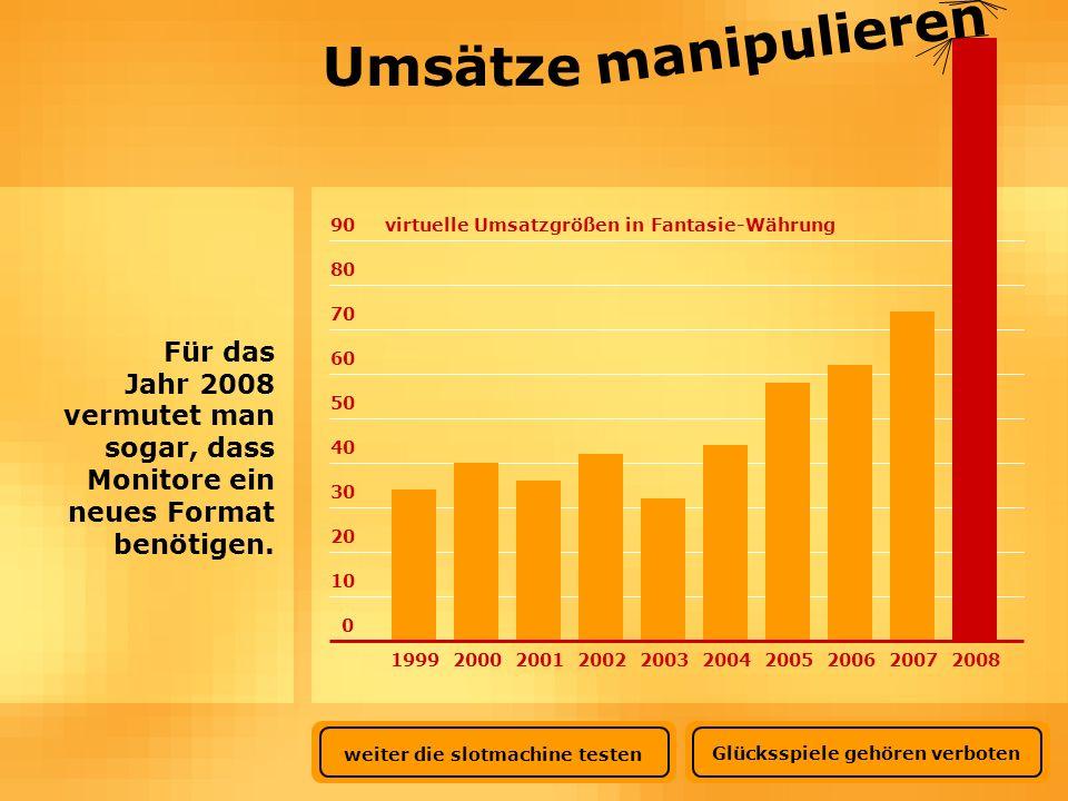 0 10 20 30 40 50 60 70 80 90virtuelle Umsatzgrößen in Fantasie-Währung Umsätze manipulieren Für das Jahr 2008 vermutet man sogar, dass Monitore ein ne