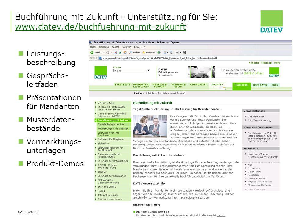 08.01.2010 22 Buchführung mit Zukunft - Unterstützung für Sie: www.datev.de/buchfuehrung-mit-zukunft www.datev.de/buchfuehrung-mit-zukunft Leistungs-