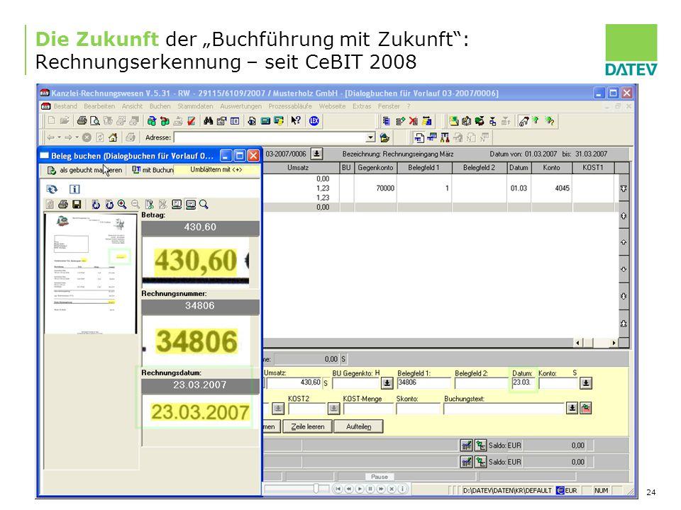 08.01.2010 24 Die Zukunft der Buchführung mit Zukunft: Rechnungserkennung – seit CeBIT 2008