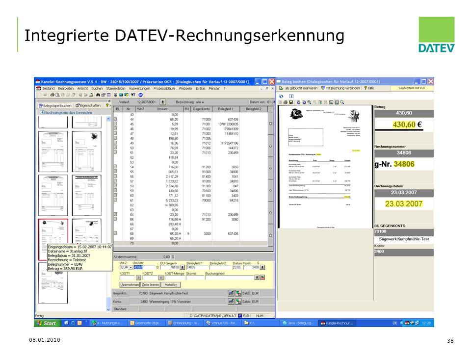 08.01.2010 38 Integrierte DATEV-Rechnungserkennung