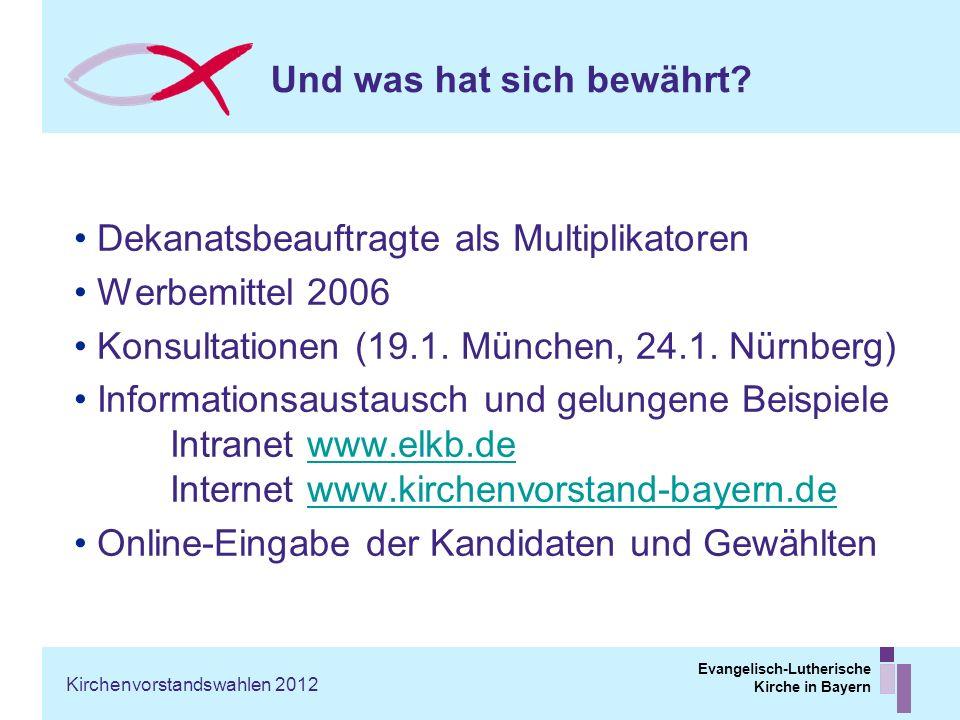 Evangelisch-Lutherische Kirche in Bayern Und was hat sich bewährt? Dekanatsbeauftragte als Multiplikatoren Werbemittel 2006 Konsultationen (19.1. Münc
