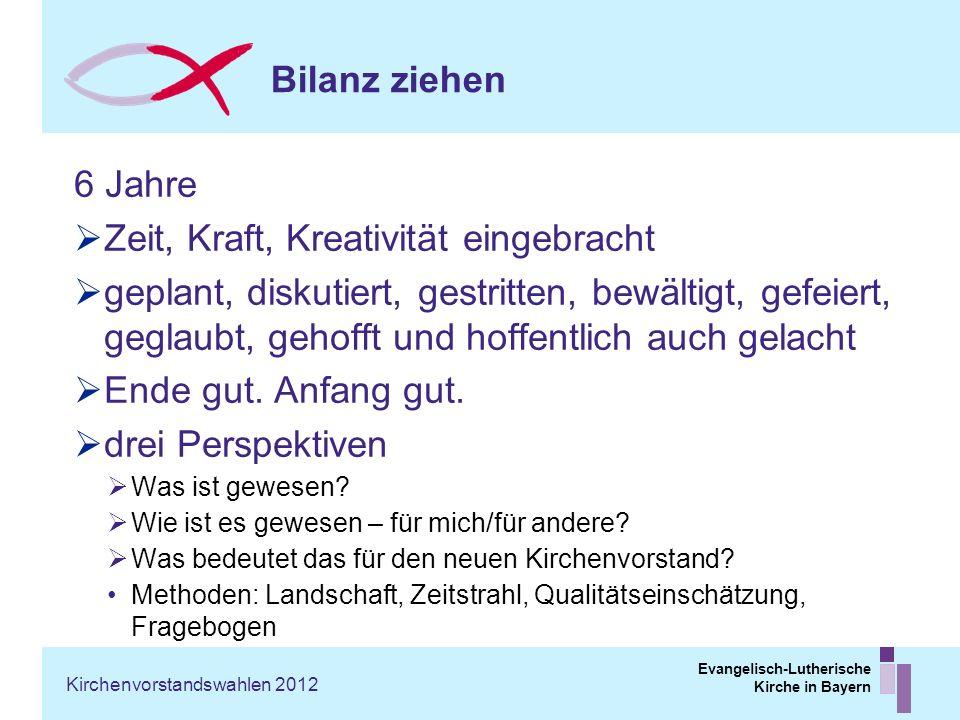 Evangelisch-Lutherische Kirche in Bayern Bilanz ziehen 6 Jahre Zeit, Kraft, Kreativität eingebracht geplant, diskutiert, gestritten, bewältigt, gefeie