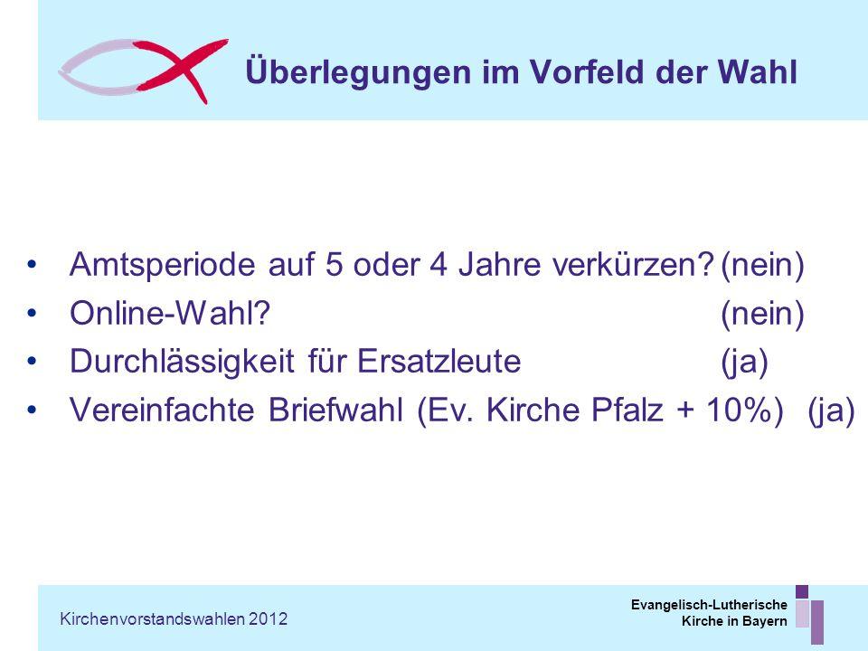 Evangelisch-Lutherische Kirche in Bayern Überlegungen im Vorfeld der Wahl Amtsperiode auf 5 oder 4 Jahre verkürzen?(nein) Online-Wahl?(nein) Durchläss