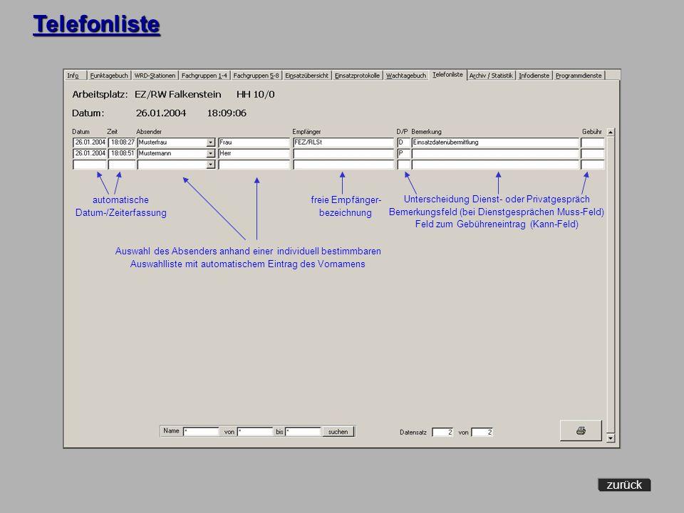 Archiv/Statistik zurück Abruf archivierter Daten Erstellung von Statistiken u. Kommentaren