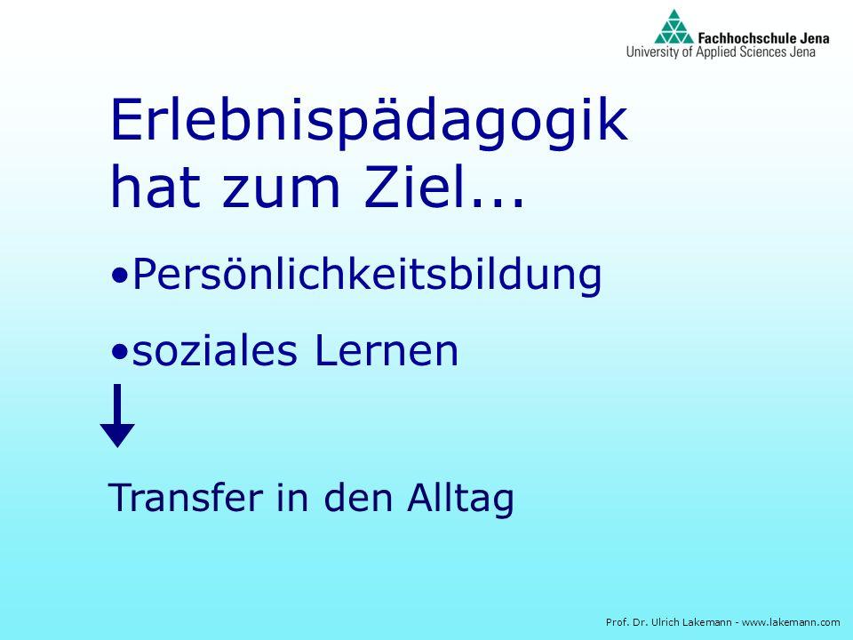 Prof. Dr. Ulrich Lakemann - www.lakemann.com Erlebnispädagogik hat zum Ziel... Persönlichkeitsbildung soziales Lernen Transfer in den Alltag