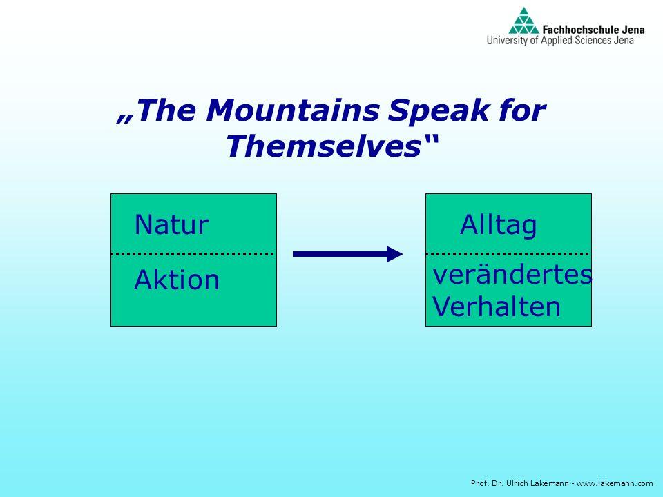 Prof. Dr. Ulrich Lakemann - www.lakemann.com The Mountains Speak for Themselves Natur Aktion Alltag verändertes Verhalten
