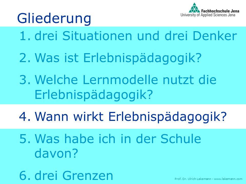 Prof. Dr. Ulrich Lakemann - www.lakemann.com 1.drei Situationen und drei Denker 2.Was ist Erlebnispädagogik? 3.Welche Lernmodelle nutzt die Erlebnispä