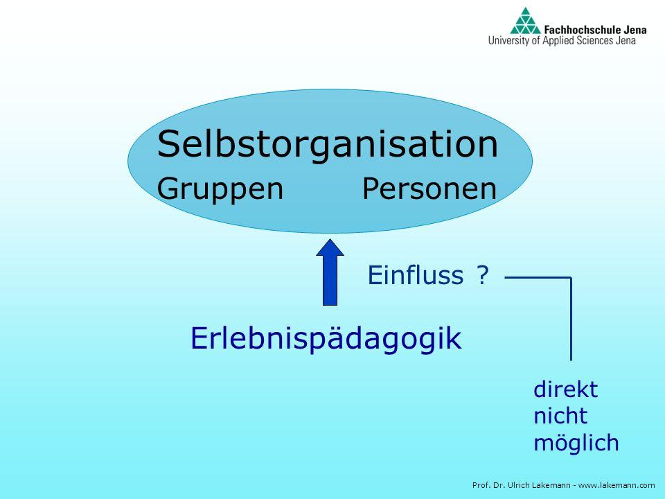 Prof. Dr. Ulrich Lakemann - www.lakemann.com Selbstorganisation GruppenPersonen Erlebnispädagogik Einfluss ? direkt nicht möglich