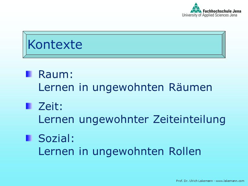 Prof. Dr. Ulrich Lakemann - www.lakemann.com Kontexte Raum: Lernen in ungewohnten Räumen Zeit: Lernen ungewohnter Zeiteinteilung Sozial: Lernen in ung