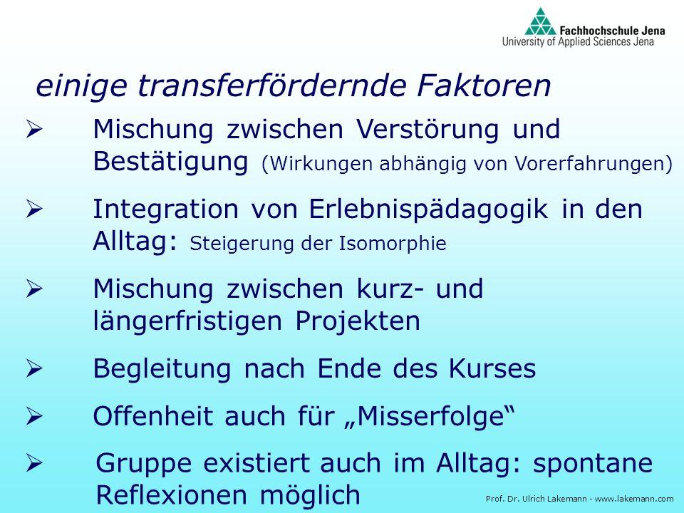 Prof. Dr. Ulrich Lakemann - www.lakemann.com Mischung zwischen Verstörung und Bestätigung (Wirkungen abhängig von Vorerfahrungen) Integration von Erle