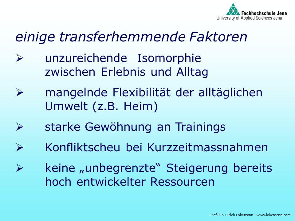 Prof. Dr. Ulrich Lakemann - www.lakemann.com einige transferhemmende Faktoren unzureichende Isomorphie zwischen Erlebnis und Alltag mangelnde Flexibil